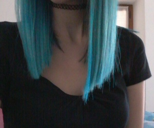 black, blue, and choker image