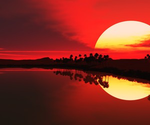 landscape, nature, and red image