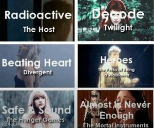 divergent, book, and song image