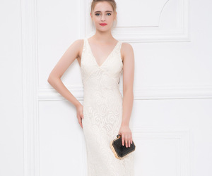 evening dress, long prom dress, and lace prom dress image