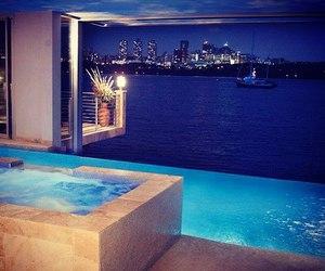 luxury, pool, and night image