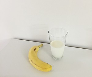 banana, milk, and pastel colors image