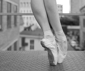 ballerina, ballet shoes, and black and white photography image