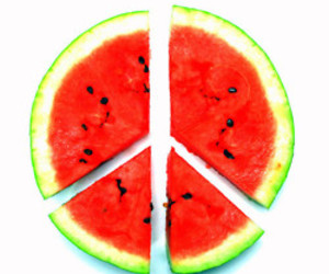 peace, watermelon, and peace sign image