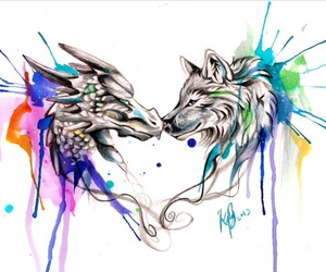 colors, dragon, and wolf image