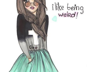 girl, weird, and drawing image