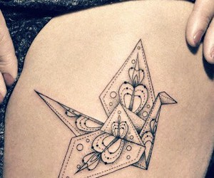 cranes, tattoo, and origami image