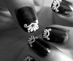 black and white, lace, and nail art image
