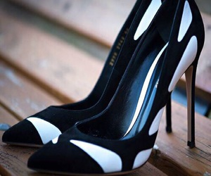 high heel, white and black, and shoes image