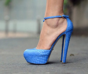 blue, high heel, and style image