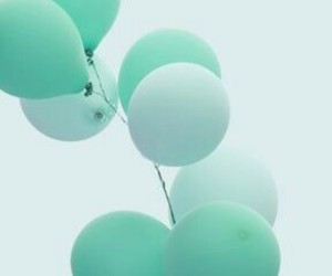 balloons, blue, and mint image