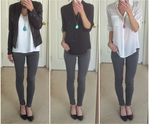 outfit, girl, and grey image