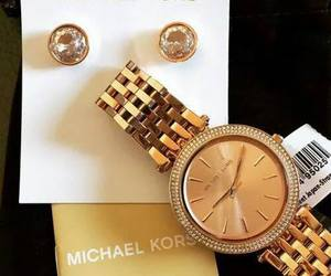 gold, Michael Kors, and earrings image
