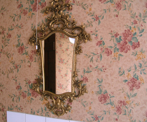 antique, floral, and mirror image