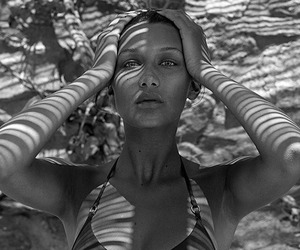 bella hadid, black and white, and model image