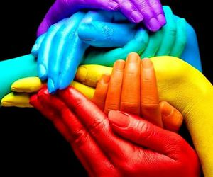 hands, rainbow, and color image