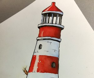 art, lighthouse, and sketch image