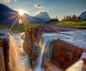 waterfall, nature, and sun image