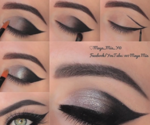 beauty, cat eye, and makeup image
