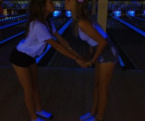 blonde, girls, and bowling image