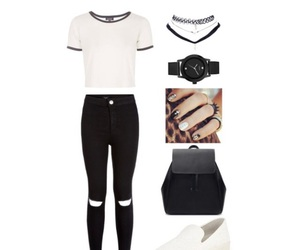 black, cream, and outfit image