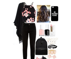 black, floral print, and Polyvore image