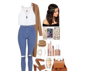 brown, heels, and jeans image