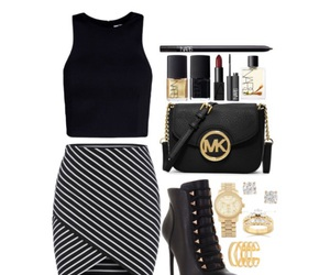 black, gold, and Polyvore image