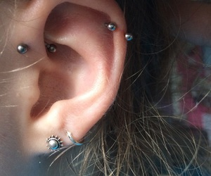 girl, pierce, and piercing image
