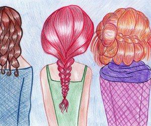 creativity, drawing, and hair image