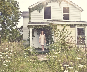 flowers, girl, and outside image