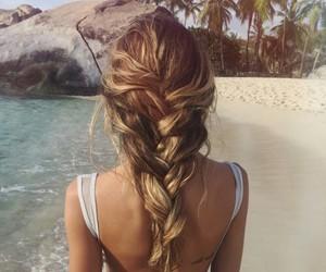 beach, braid, and girl image