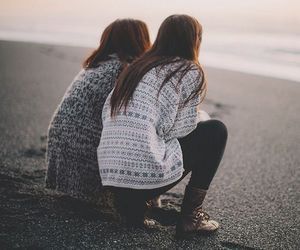 friends, girl, and beach image