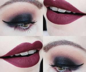 burgundy, green eyes, and mac image