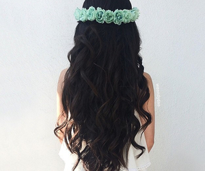 hair, flowers, and black image