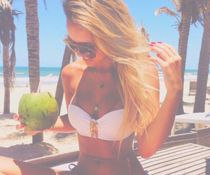 beach, blond, and drink image
