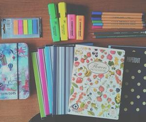 school, notebook, and school supplies image