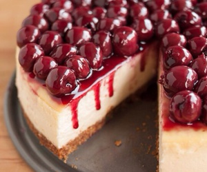 cake, cheesecake, and cherry image