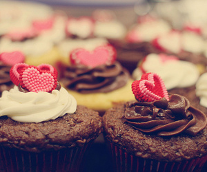 cupcake, chocolate, and heart image