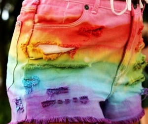 shorts, rainbow, and summer image