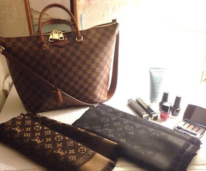 Louis Vuitton, bag, and scarf image