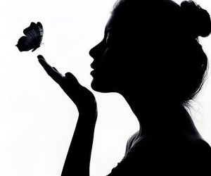 girl, butterfly, and black and white image