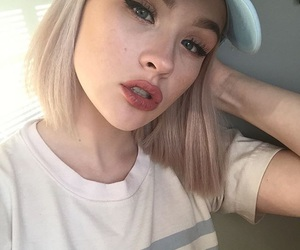 baby girl, makeup, and t-shirt image