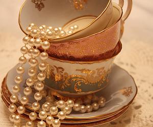 pearls, vintage, and tea image