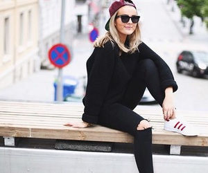 adidas, black jeans, and black sweater image