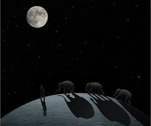 elephant, moon, and man image
