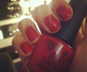 dots, red nails, and opi image