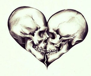 young love, black and white, and bones image
