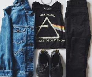 Pink Floyd, black, and denim jacket image