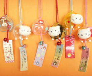 cat, kawaii, and wind bell image